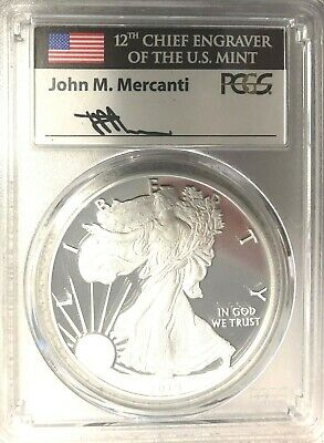 2019 W Proof Silver Eagle Pcgs Pr70 Dcam Flag Mercanti First Day Of Issue Fdi Nr