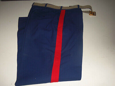 Us Marine Corps Usmc Men's Dress Blue Trousers Stripe Size 33R With Belt