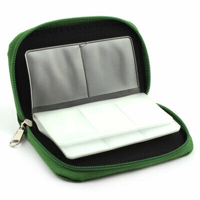 Nylon 22 Slots Storage Carrying Pouch Case Green for CF Micro SD Memory Card