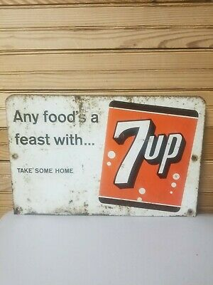 Vintage 7up Pop Soda Metal Sign Advertising Double Sided Rack  Topper Take Home
