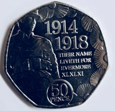 isle of Man 50p Official First World War coin - Remembrance 2018- Uncirculated