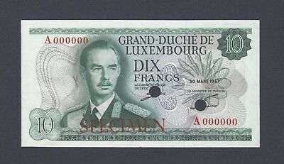 Luxembourg 10 Francs 20.3.1967 P53s Specimen About Uncirculated