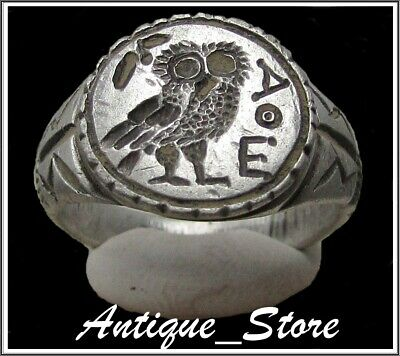 ** OWL of ATHENA **Ancient Silver  Greek Ring **AMAZING **