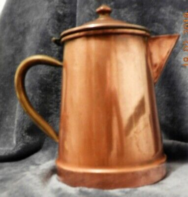 ANTIQUE Solid Copper Lidded Tea Jug