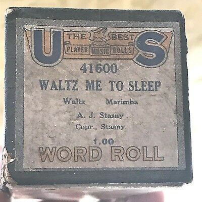 "US Player Word Piano Roll ""Waltz Me to Sleep"" No. 41600.  Good Condition!"