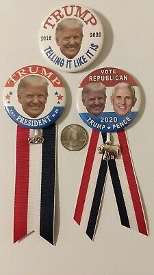 """3-pack, 2.25"""" Donald Trump 2020 re-election badge pin Campaign Political"""