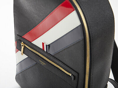 ea3db66301 THOM BROWNE LEATHER Diagonal Stripe black Backpack Authentic mint  condition!!