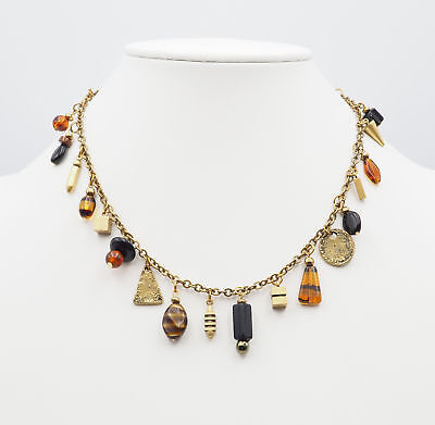 Vintage Antique Gold Tone Amber Acrylic Bead and Metal Charms Necklace