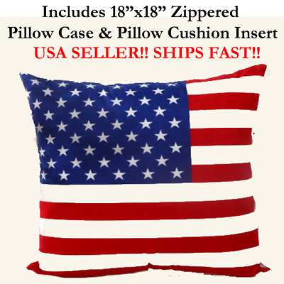 "16x16 16"" USA FLAG UNITED STATES OF AMERICA PATRIOTIC Throw Pillow Case &Cushion"