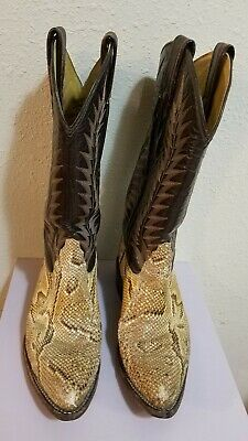 90c49d1245a VTG MENS TONY Lama Cowboy Snake Skin Yellow/brown Boots Size 7 D