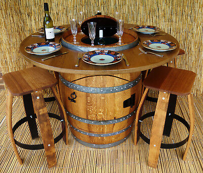 Wine Barrel Dining Table  With Cooler And  Country Stools Indoor Or Pergola