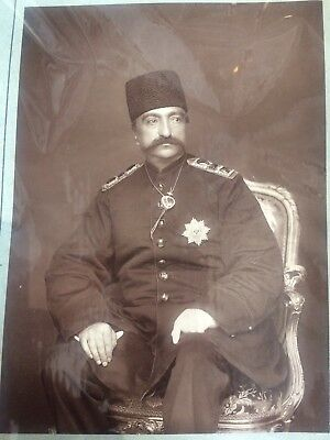 Naser al-Din Shah Qajar Antique Carbon Photograph Shah Of Persia Silver Gelatine