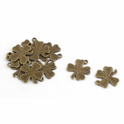 Jewelry Making Metal Four Leaf Clover Necklace Charms Pendant Bronze Tone 10pcs