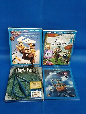 Children Disney Blu-Ray lot of 4 Movies  Deathly hollows p.1, Alice, Wall*e, UP