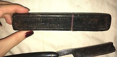 Antique IXL Pipe Razor & Box George Wostenholm & Sons Sheffield England 1694