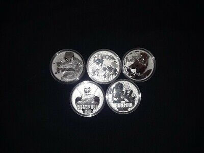 Marvel Coin Set 5 SILVER 1 oz coin .999 BU - TUVALU $1 50,000 Mintage Thor Etc.