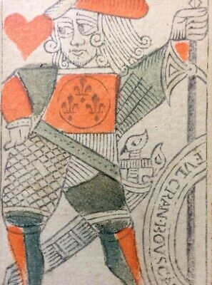 1700's Historic Antique Playing Cards Woodcut Painted Museum Quality Rare Single