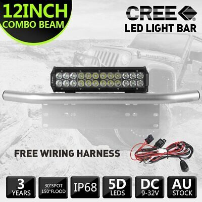 12inch 100W CREE LED Light Bar+23 License Mount Bull Bar Number Plate Silver
