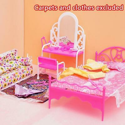 Creative Pink Bed Dressing Table & Chair Set For Barbies Dolls Bedroom Furniture