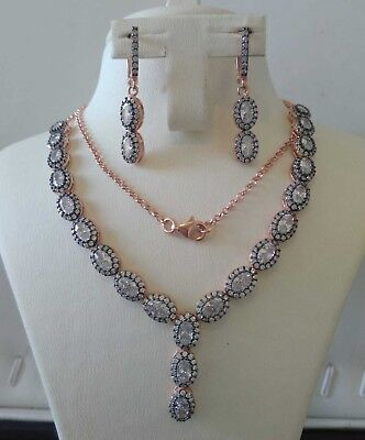 AAA Quality 925 Sterling Silver Jewelry Asian White Zircon &Cz Lady Necklace Set