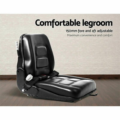 Forklift Seat Adjustable Suspension Universal Tractor Backrest Chair PU Leather