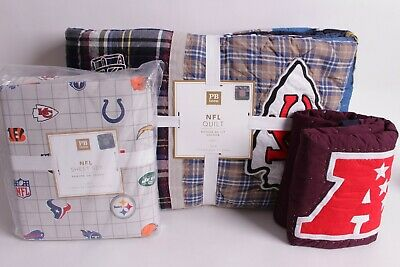 NWT Pottery Barn PB Teen NFL AFC football twin quilt, sham & sheet set