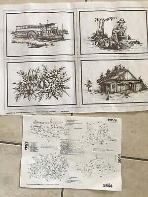 HOBBYTEX PRE-SHADED PICTURES  x 4 AUSTRALIANA  #5644 + Instructions - Unworked