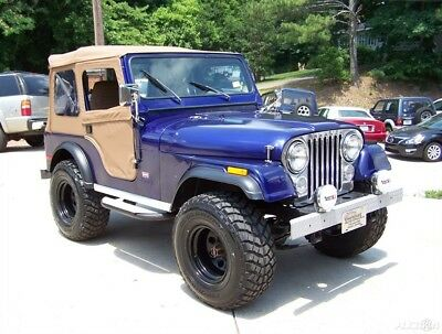 1980 Jeep CJ 4X4 CJ-5 LEVI TRIM PKG 2.5L 4CYL 4-SPD RESTORED DRIVER TRAIL A SHARP GEORGIA 4WD BLUE TAN NEW 33s COMP 2 CJ7 CJ5 WRANGLER YJ TJ JK CJ WILLIS