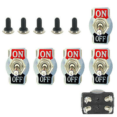 5 X Heavy Duty 20A 125V DPST 4Pin ON/OFF Rocker Toggle Switch Waterproof Boot