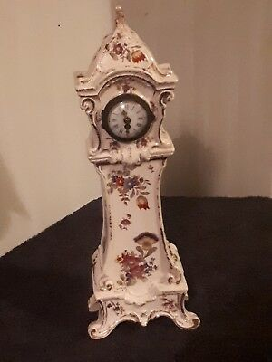 antique porcelain french  mantle clock by Diette Hour