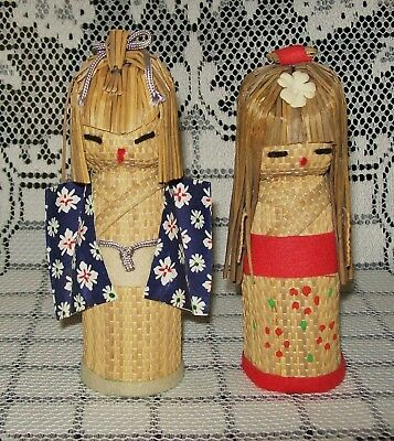 2 x SMALL VINTAGE HAND CRAFTED WOVEN JAPANESE DOLLS 13cm