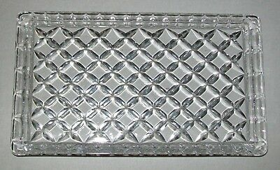 SMALL, VINTAGE CLEAR GLASS VANITY TRAY / SERVING PLATE 18.75 x 10.75cm