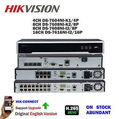 Hikvision 4K 4/8/16CH CHANNEL POE NVR 8MP H.265 7608NI-I2/8P CCTV Video Recorder