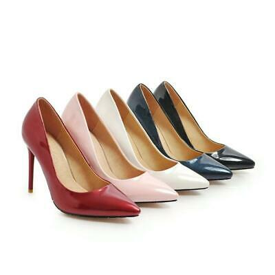 Chic Womens Patent Leather Pointy Toe Stiletto Heel Pumps Casual Party Shoes NEW