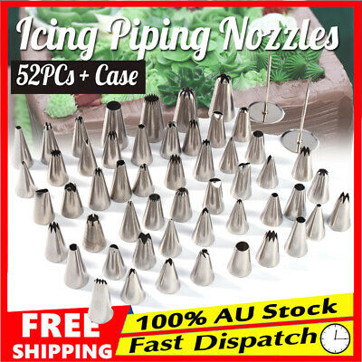 52x Cream Icing Piping Nozzles Set Kit Pastry Tips Cake Decorating Tool + Case