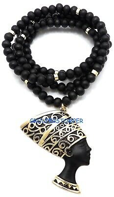 """Nefertiti Egyptian Queen of the Nile Large Pendant With 36"""" Long Wood Bead Chain"""