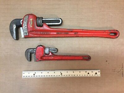 """Set of Two Pipe Monkey Wrenches Ridgid 18"""" & Fuller 10"""" Steel Heavy Duty"""