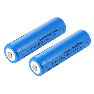 2x Rechargeable 18650 Li-ion Battery 3.7V 2600mAh Blue for Flashlight Toys BC816