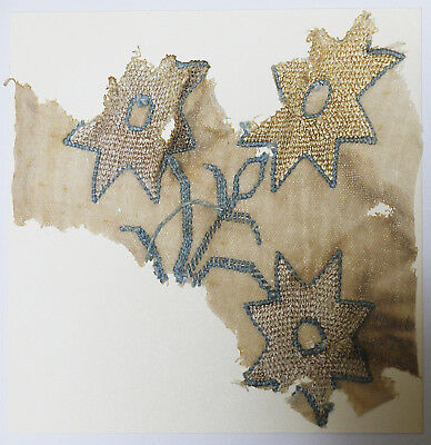 16-17C Antique Textile Fragment - Dyeing and Weaving, Embroidery, Flower Pattern