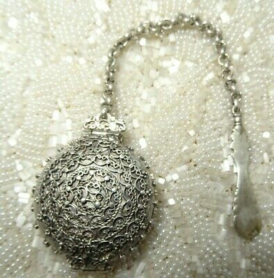 Antique French Sterling Silver Lime Container Locket for Beetle Nut with Spoon