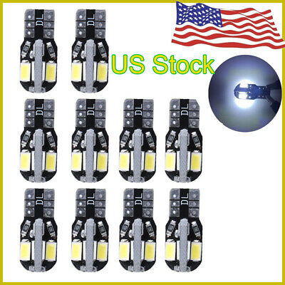 10* T10 Led Canbus Error Free 8 SMD Car Side Wedge light Bulb White 168 194 W5W