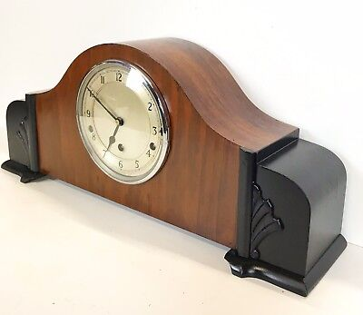 Large Art Deco Walnut & Ebony Finish Quarter Chiming Mantle Clock Supurb