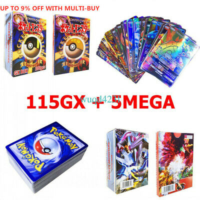 120Pcs 115GX+5MEGA Pokemon Cards Holo Flash Cards Trading Bundle Mixed Kids Gift