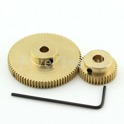 0.5M80-40T Module 0.5 Motor Metal Gear Wheel Set Kit Ratio 2:1 Wheelbase 30mm