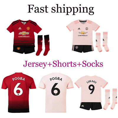 1819 Football Kits Soccer Suits Kids Boys Jersey Strip Sports Outfit with Socks