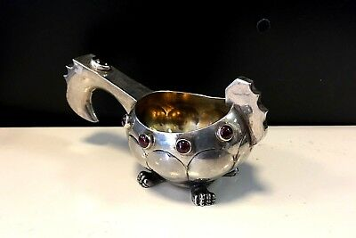 Imperial Russian K. Faberge 84 SILVER BOWL КОВШ with RUBY stones c. 1915-17