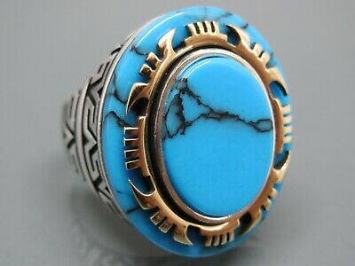 Turkish Handmade Jewlry Style 925 Sterling Silver Turquoise Men's Ring Sz 11