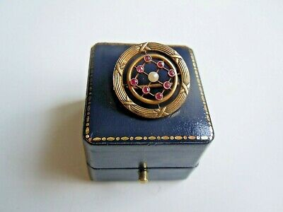 rare Russian 56 GOLD BROOCH with RUBY stones and pearl by K. Faberge design