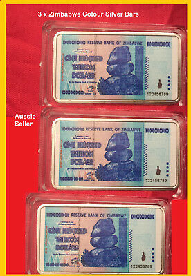 3 x ZIMBABWE 100 TRILLION DOLLARS NOTE COLOURED SILVER PLATED INGOT BULLION BAR