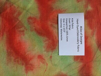 "Hand Dyed 18 Count Aida Cloth, 11 x 12.5"", Watermelon"